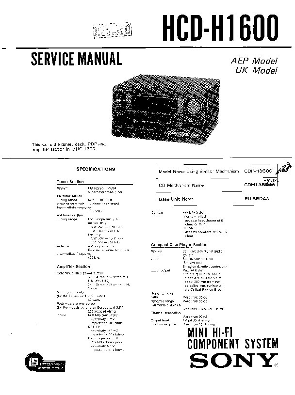 sony fh-e636cd  hcd-h1600  mhc-1600 service manual