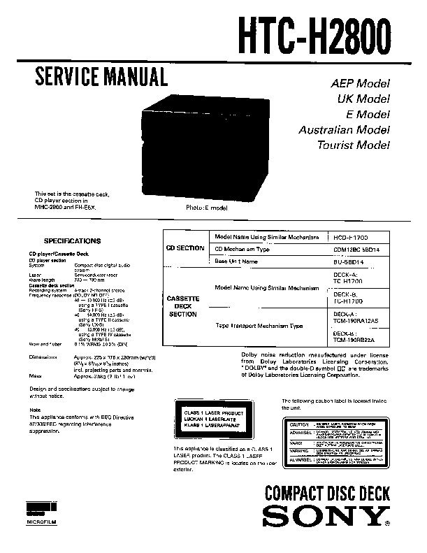 sony mhc-2800 service manual