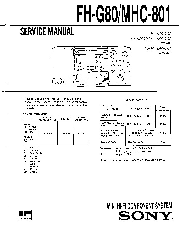 sony fh g80 mhc 801 service manual free download. Black Bedroom Furniture Sets. Home Design Ideas