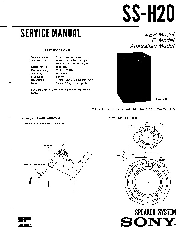 sony fh-l300 service manual