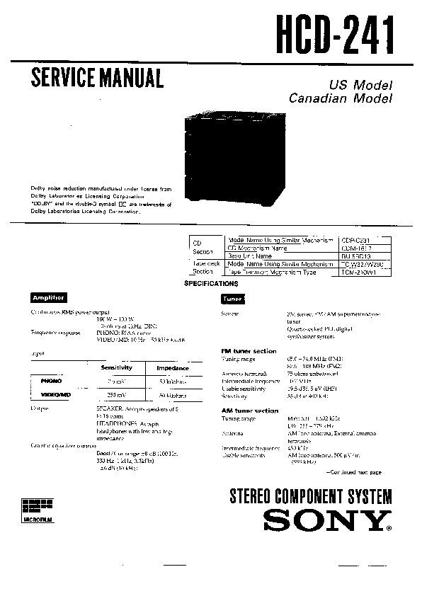 sony hcd-241 service manual