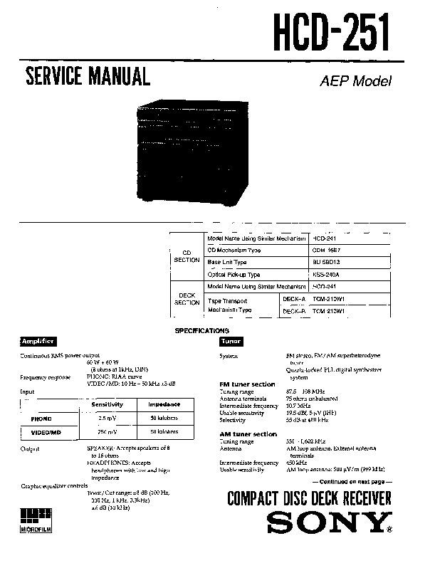 sony hcd-251 service manual