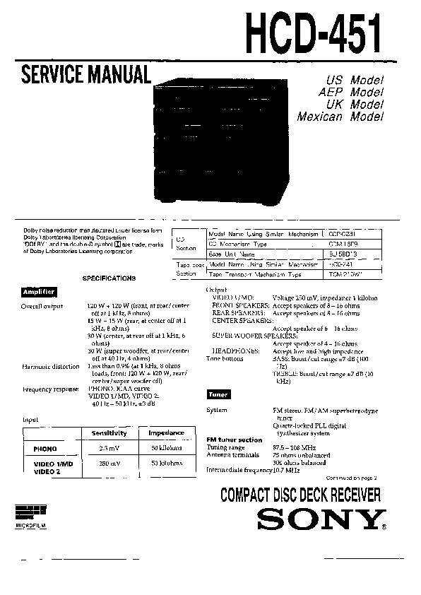 sony hcd-451  hcd-461 service manual