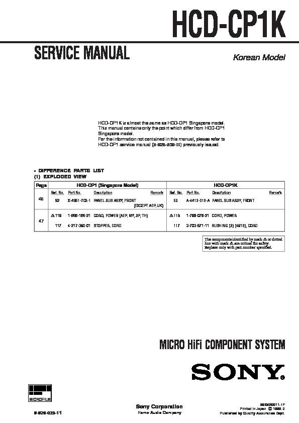 sony hcd-cp1k service manual