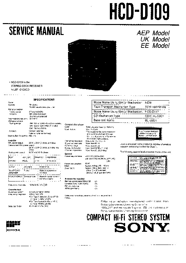 sony hcd-d109 service manual