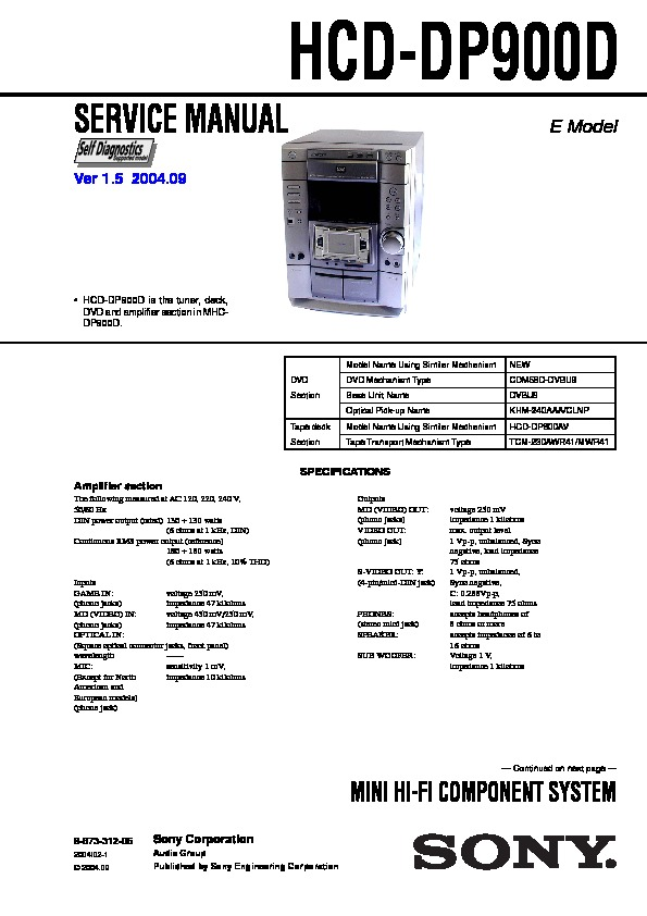 Sony Hcd-dp900d  Mhc-dp900d Service Manual