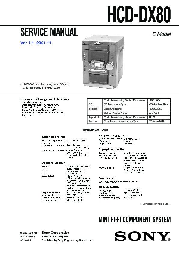 Sony Hcd-dx80 Service Manual