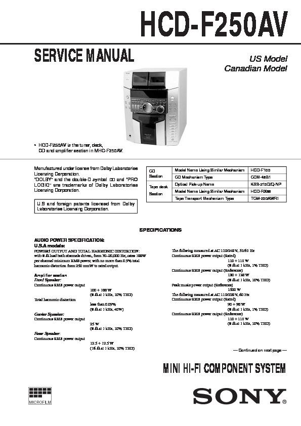 Sony Hcd-f250av  Mhc-f250av Service Manual