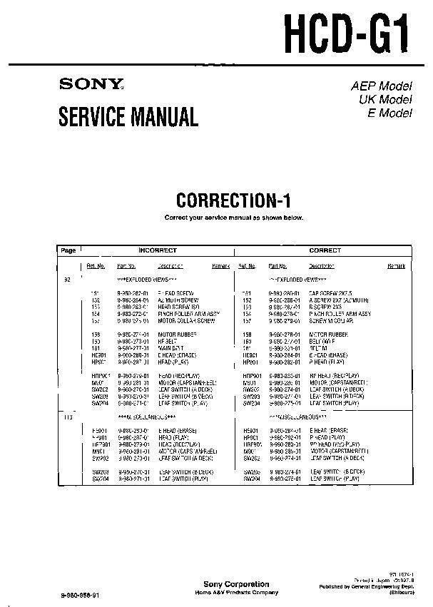 sony hcd g1 service manual free download rh servicemanuals us 820 g1 service manual hp 1030 g1 service manual