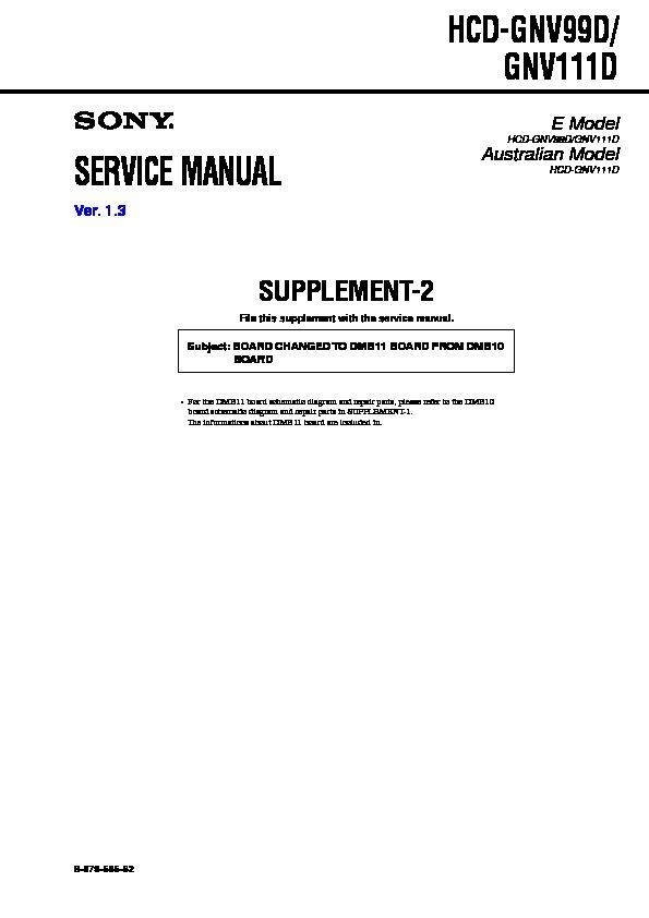Sony Hcd Gnv111d Hcd Gnv99d Mhc Gnv111d Mhc Gnv99d Service Manual Free Download