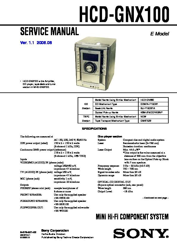 Sony Hcd-gnx100 Service Manual