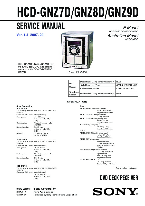Sony Mhc-gnz7d  Mhc-gnz8d  Mhc-gnz9d Service Manual