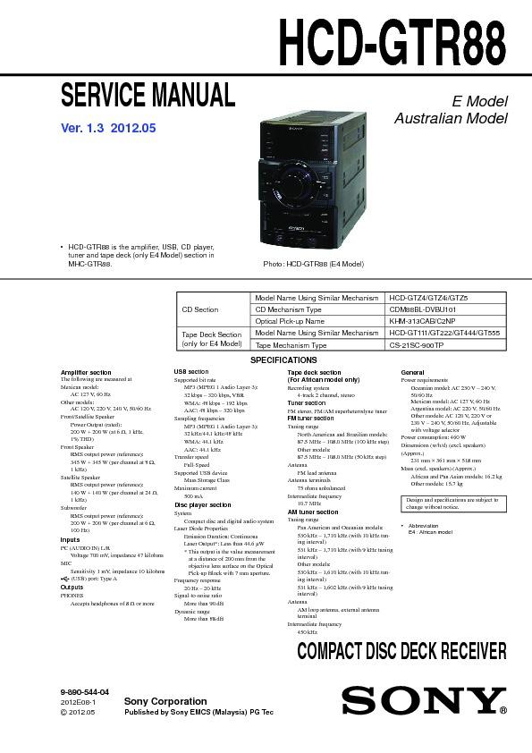 Sony Hcd-gtr88  Mhc-gtr88 Service Manual