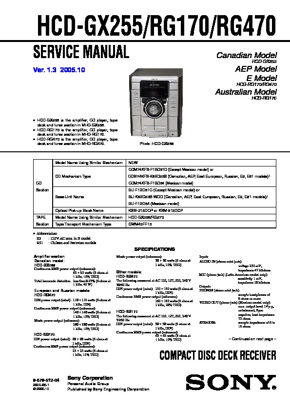 Sony MHC-GX30 Operating Instructions Manual Download