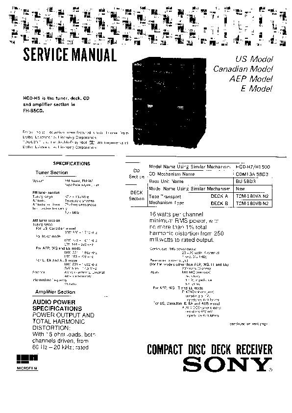 sony hcd-h5 service manual