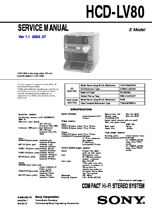 sony hcd-lv80  lbt-lv80 service manual