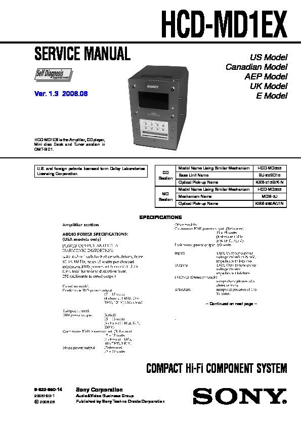 sony hcd-md1dx service manual