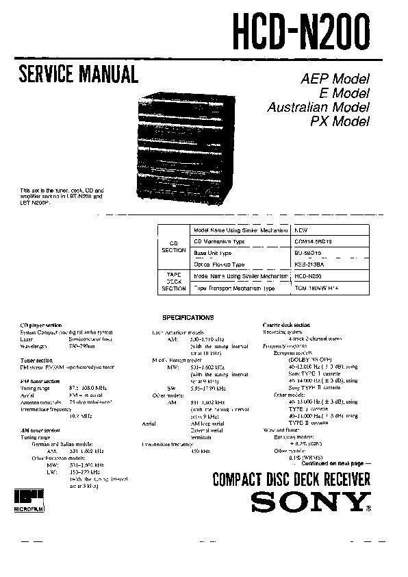 sony hcd n200 lbt n200 lbt n200cdx lbt n200p service manual rh servicemanuals us Sony TV Repair Manual Sony M 80 Manual