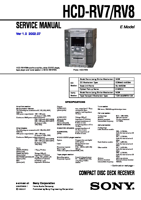 Sony Mhc-rg88  Mhc-rv8  Ss-wgv8 Service Manual