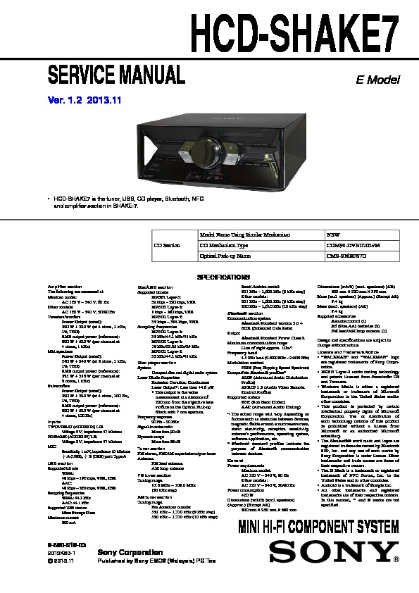 Sony Hcd-shake7 Service Manual