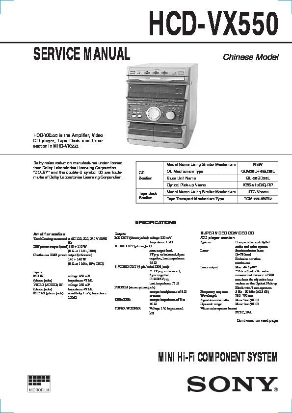 Sony Hcd-vx550  Mhc-vx550 Service Manual