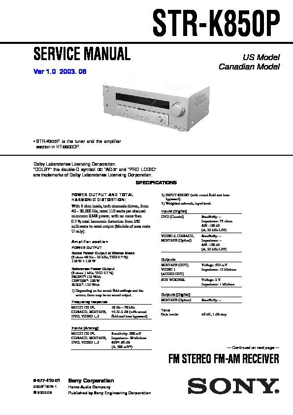 sony ht 6600dp str k850p service manual free download rh servicemanuals us sony str-k850p specs sony str k650p manual