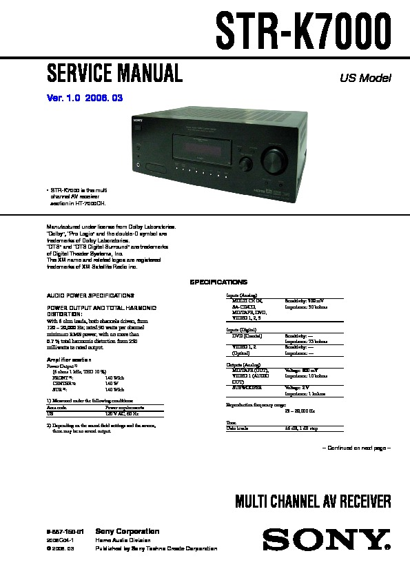 sony ht 7000dh str k7000 service manual free download rh servicemanuals us sony str-k7000 remote Sony STR K7000 Specs