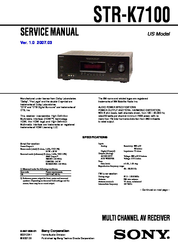 sony ht 7100dh str k7100 service manual free download rh servicemanuals us sony str-k7100 remote sony str k7100 review