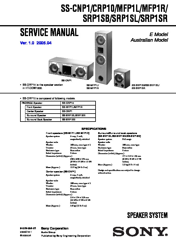Sony Ht-ddw1000  Str-k1000p Service Manual
