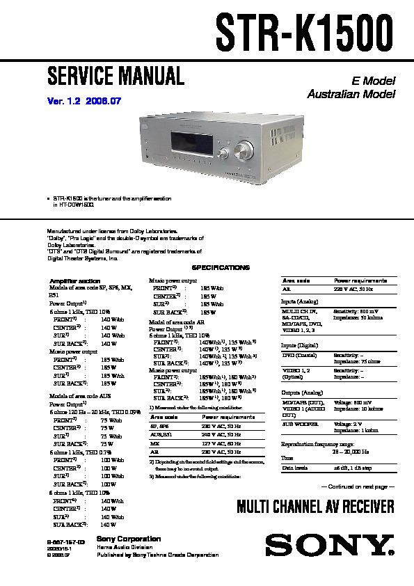 Sony Ht-ddw1500  Str-k1500 Service Manual