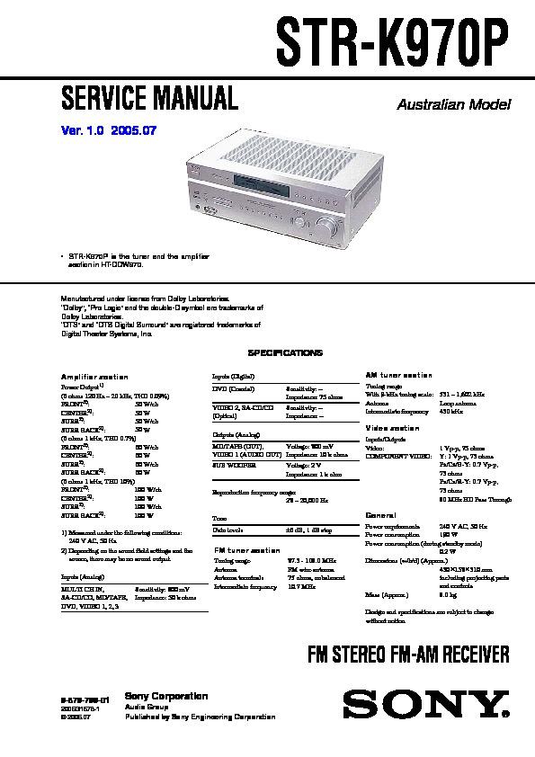 sony ht-ddw970  str-k970p service manual