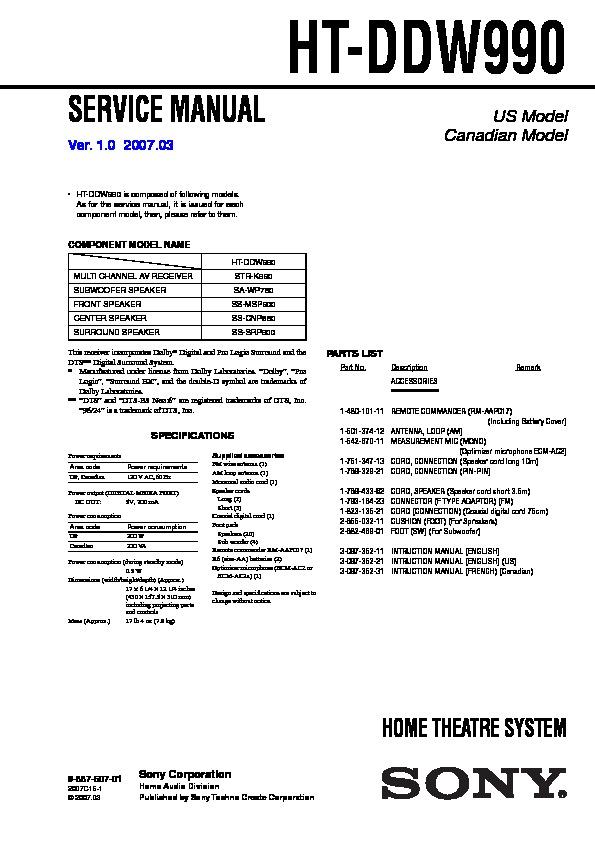 Sony Ht-ddw990 Service Manual