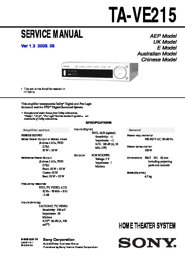 Sony Ht-k215  Ta-ve215 Service Manual