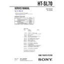 Sony HT-SL70 Service Manual