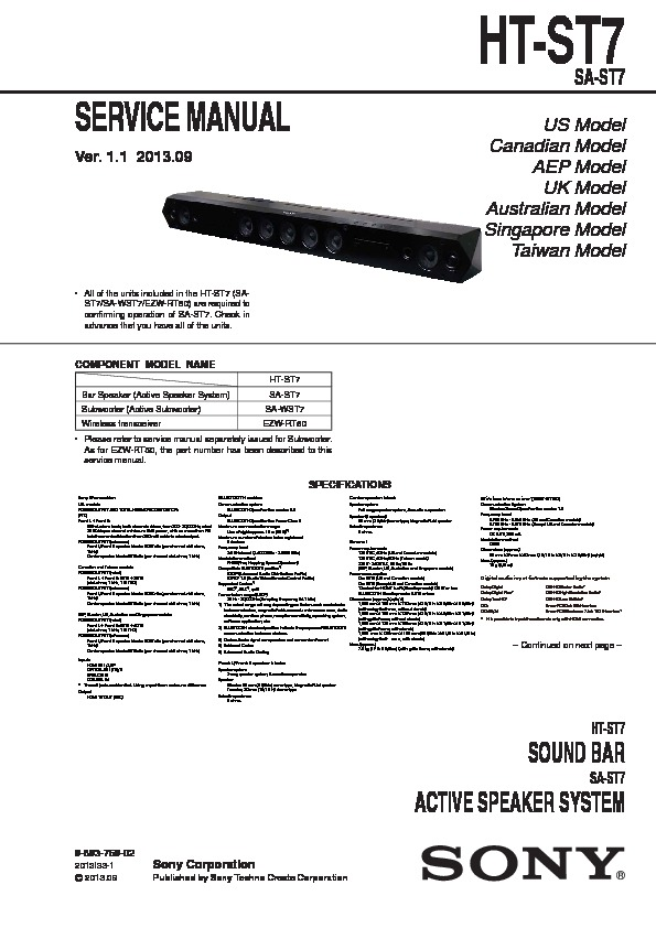 Sony Ht-st7 Service Manual