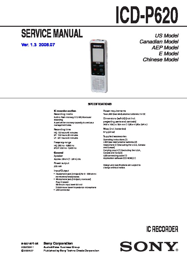 sony icd p620 service manual free download rh servicemanuals us sony ic recorder icd-p620 manual sony voice recorder icd-p620 manual