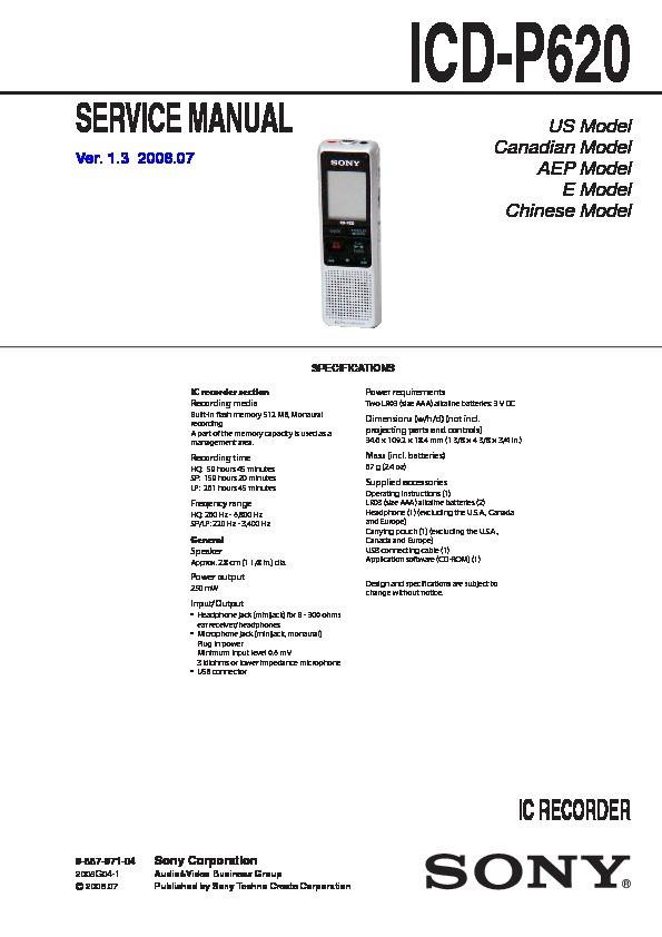 Sony Icd-p620 Service Manual