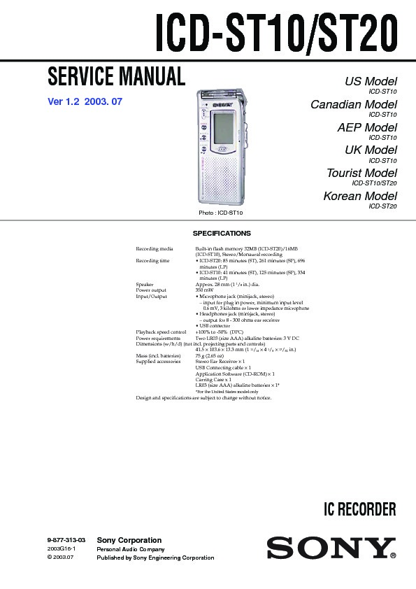sony icd st10 icd st20 service manual free download rh servicemanuals us Sony Digital Voice Recorder Sony IC Recorder Manual PX820
