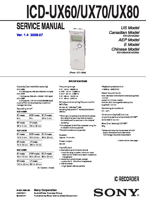 sony icd ux60 icd ux70 icd ux80 service manual free download rh servicemanuals us Sony ICF Sony Digital Voice Recorder