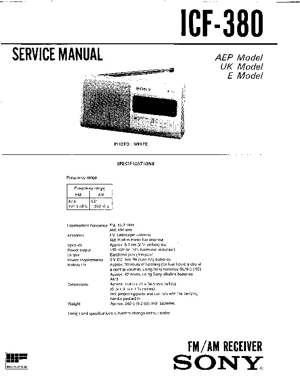 sony icf-380 service manual