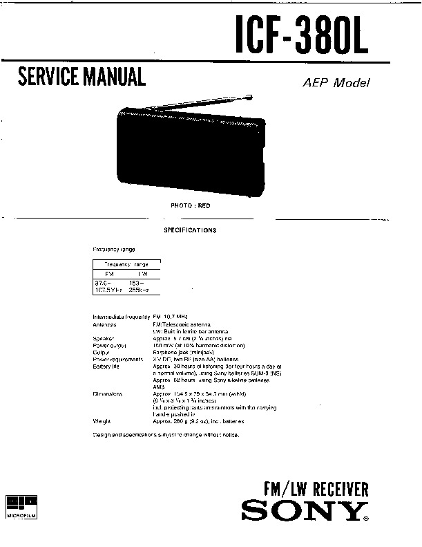 sony icf-36  icf-38 service manual