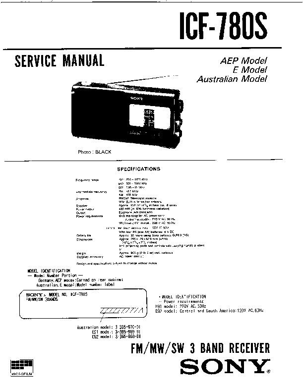 sony icf-780s service manual