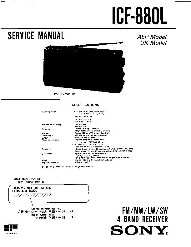 sony icf-880l service manual