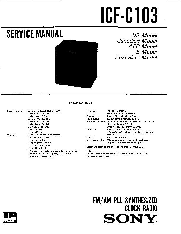 sony icf-c103 service manual