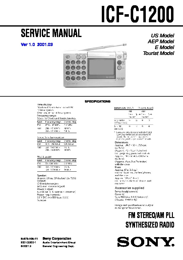 Sony Icf-c1200 Service Manual