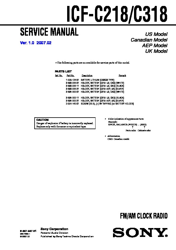 Sony Icf C218 Service Manual Free Download