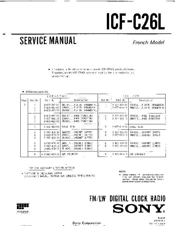 sony icf c26l service manual free download. Black Bedroom Furniture Sets. Home Design Ideas