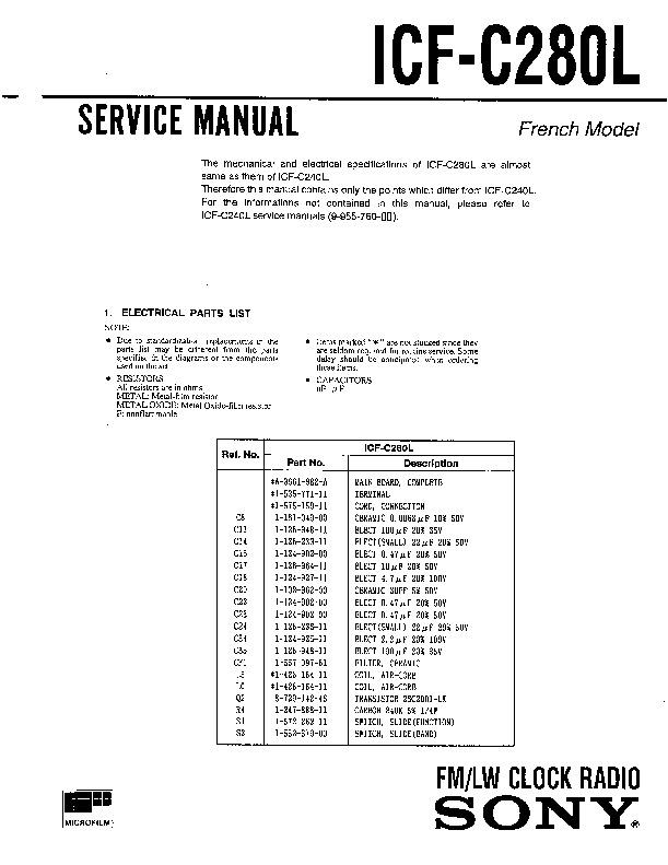 sony icf 2001d service manual
