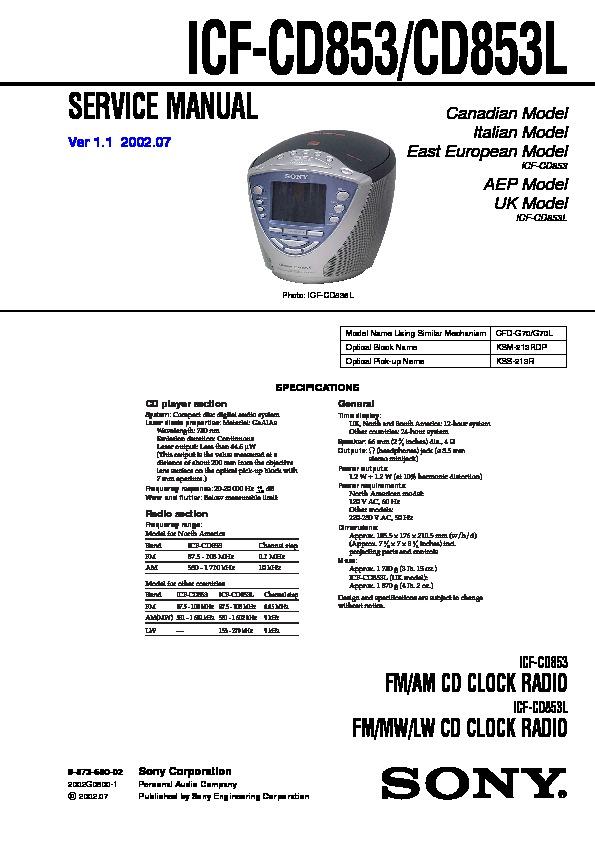 Icf 7601 l service manual