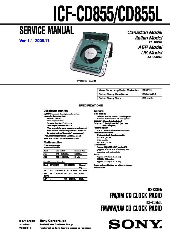 sony icf cd855 icf cd855l service manual free download rh servicemanuals us